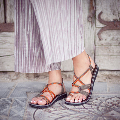 Palm Leaf Flat Women's Sandals | Orange-Gray