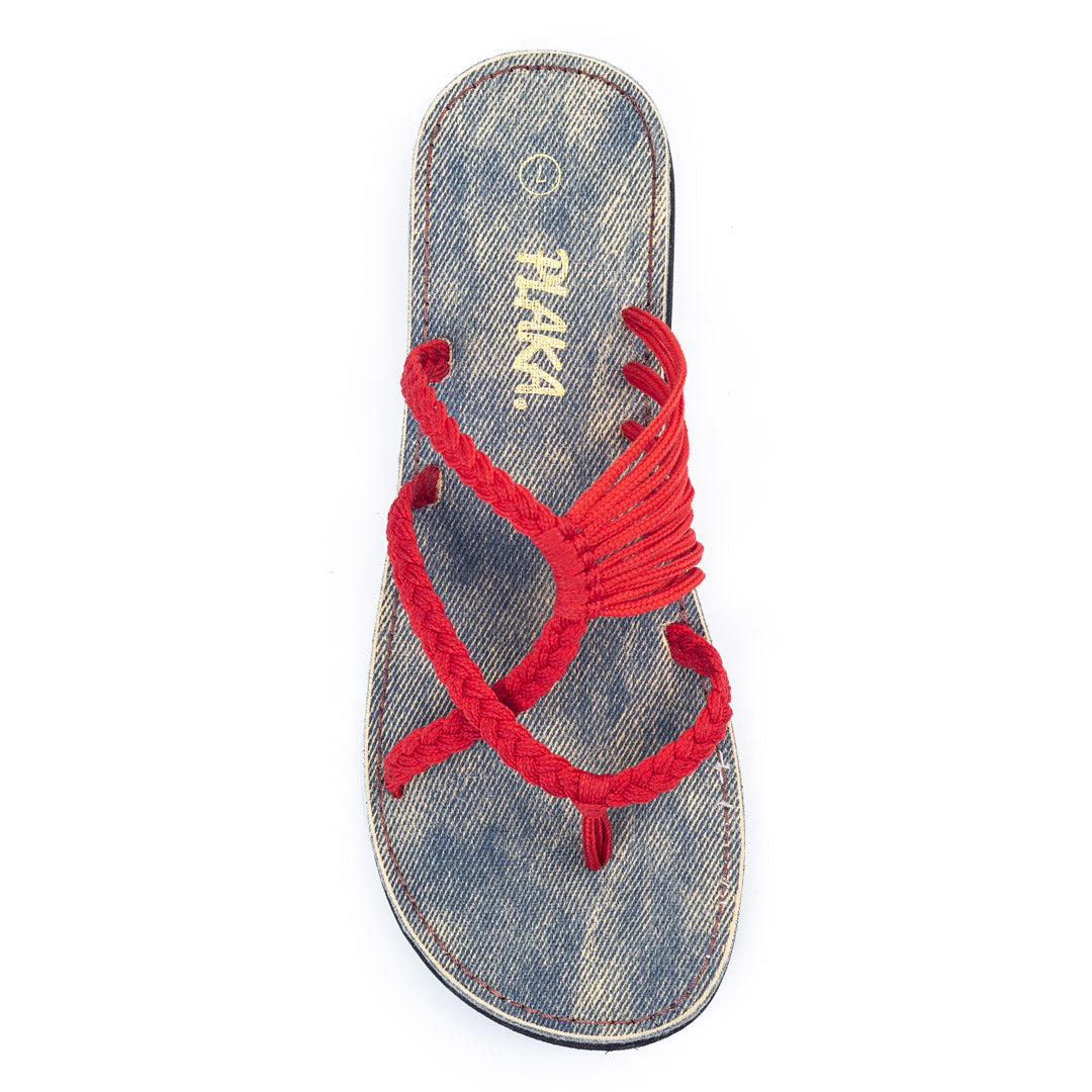 Oceanside Beach Flip Flops for Women | Red