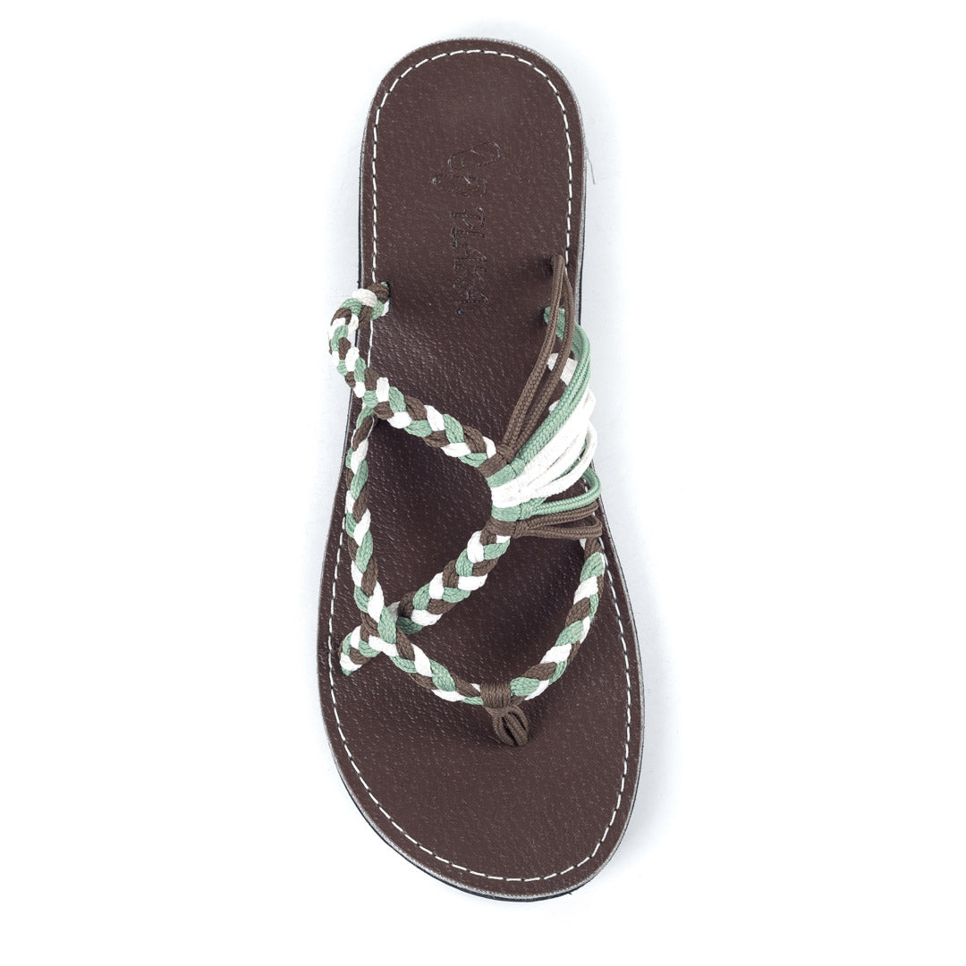 Oceanside Beach Flip Flops for Women | Green Taupe White