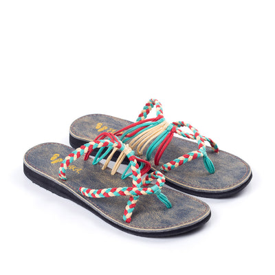 Oceanside Beach Flip Flops for Women | Turquoise Red Off-white