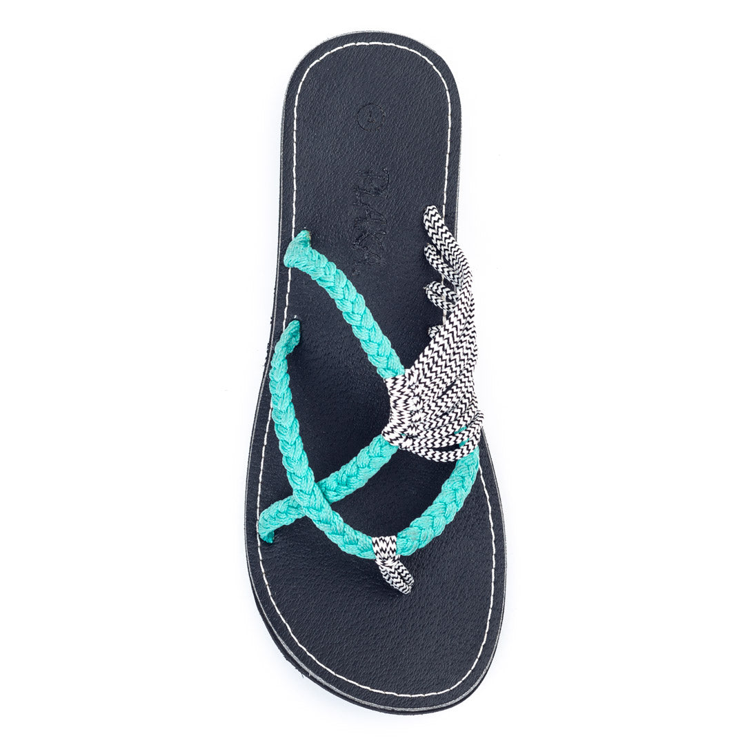 Oceanside Beach Flip Flops for Women | Turquoise Zebra
