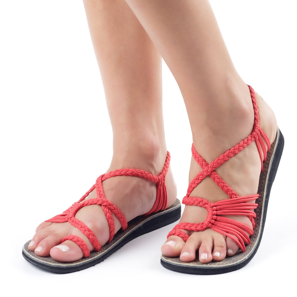 Palm Leaf Flat Women's Sandals | Red