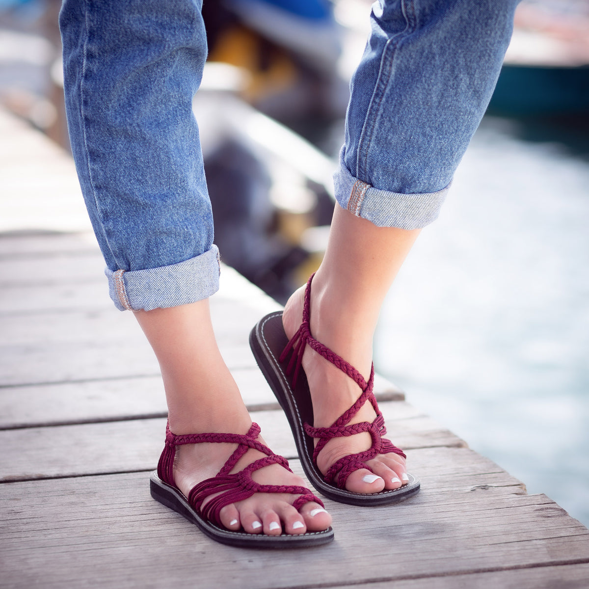 Palm Leaf Flat Women's Sandals | Sangria