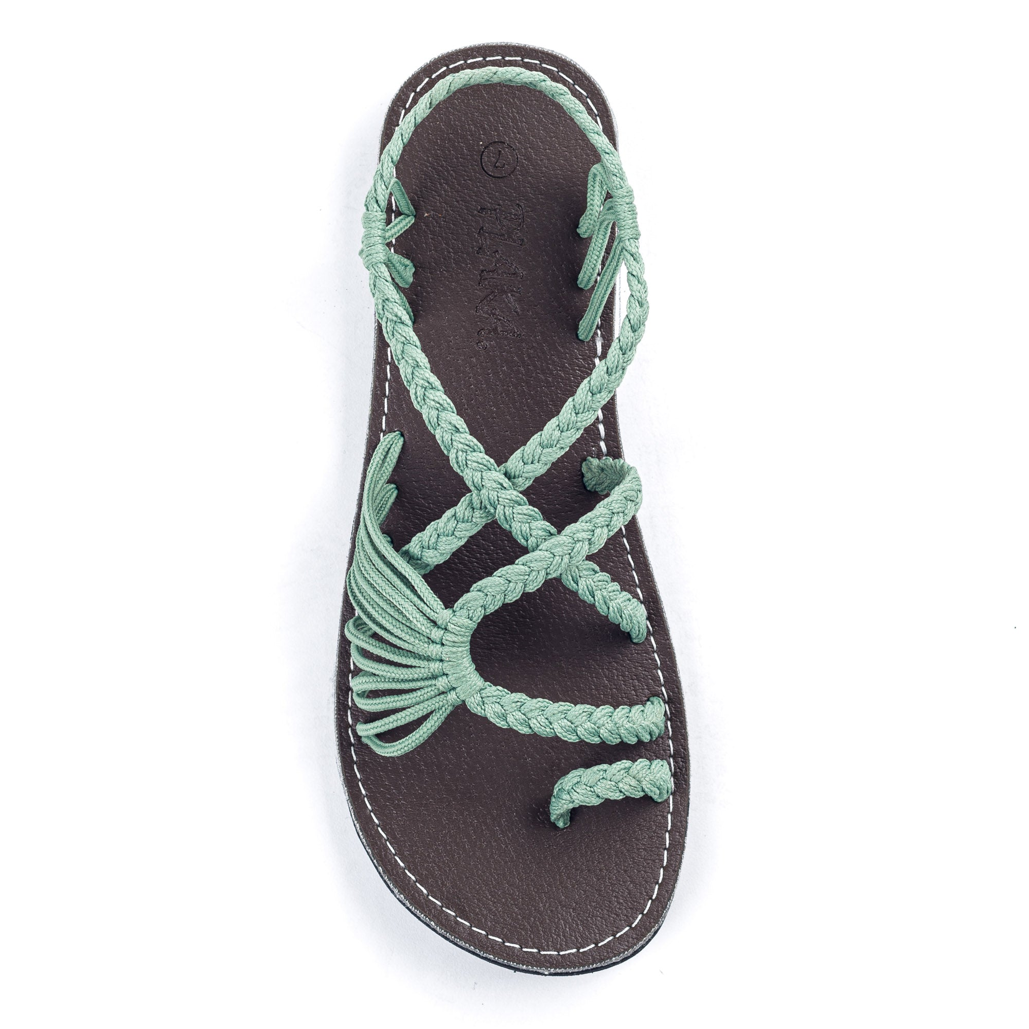 Palm Leaf Flat Women's Sandals | Sage Green