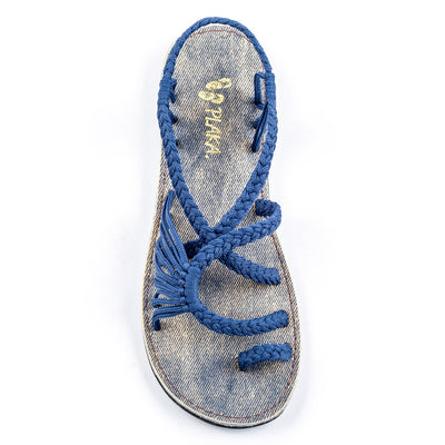 Palm Leaf Flat Women's Sandals | Sapphire-Blue