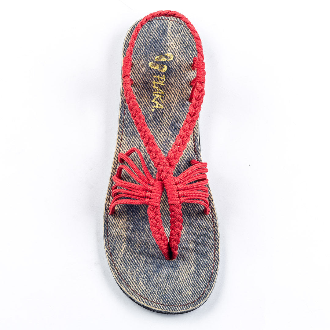 Seashell Summer Sandals for Women | Red