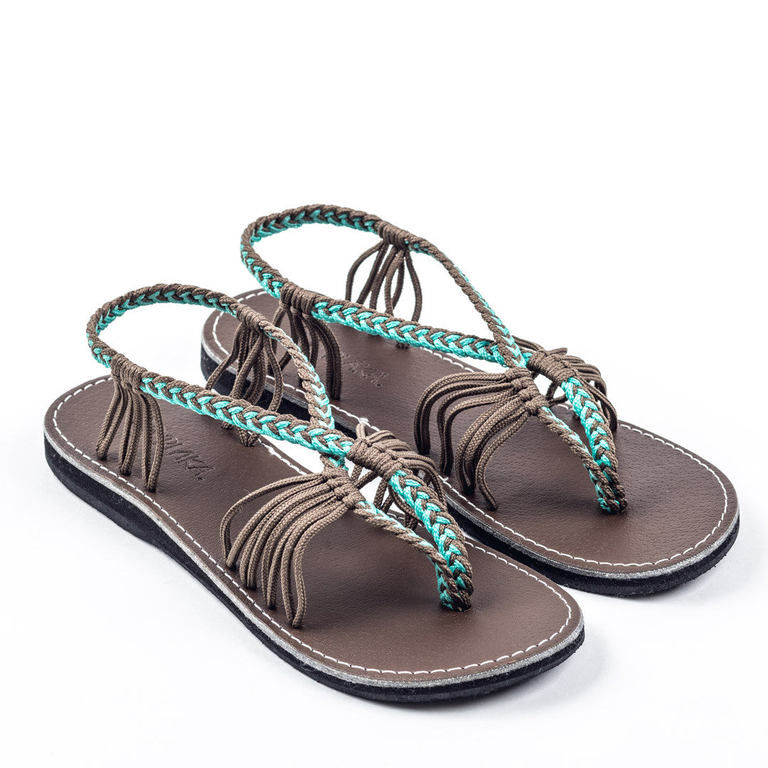 Seashell Summer Sandals for Women | Turquoise-Gray