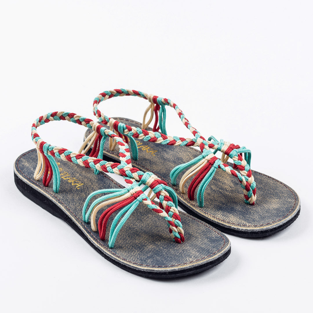 Seashell Summer Sandals for Women | Turquoise-Red-Off white