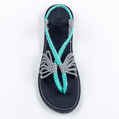 Seashell Summer Sandals for Women | Turquoise-Zebra
