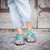 Palm Leaf Flat Women's Sandals | Teal