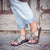 Palm Leaf Flat Women's Sandals | Turquoise Gray