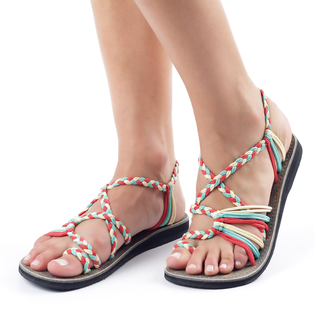 Palm Leaf Flat Women's Sandals | Turquoise-Red-Off white
