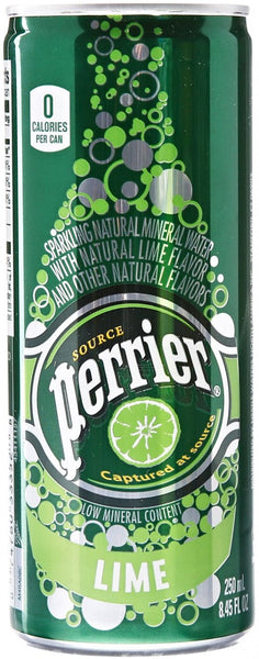 Perrier (Lime Sparkling Mineral Water 250ml x 30 Cans)