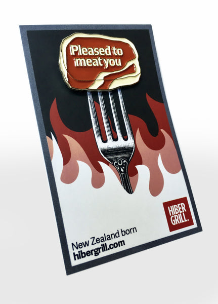 BBQ Pin Badge - 'Pleased to meat you'