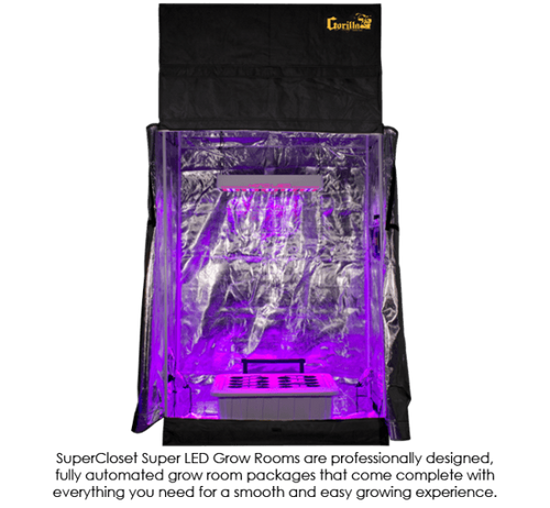 The SuperCloset hydroponic grow tent package 2x4 SuperRoom is a complete LED indoor hydroponic grow system, turn-key and fully automated.