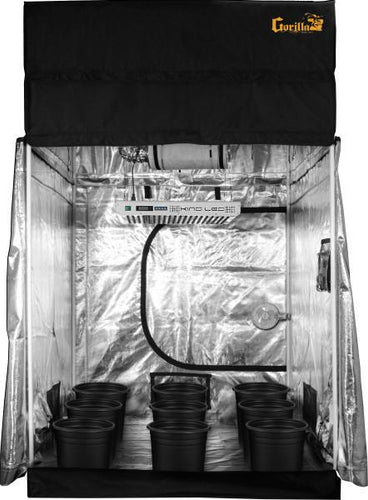 The SuperCloset complete 5x5 indoor LED grow tent system with a KIND LED grow light and a sturdy Gorilla Grow Tent is the perfect complete indoor grow tent system for a mid-size soil indoor grow.