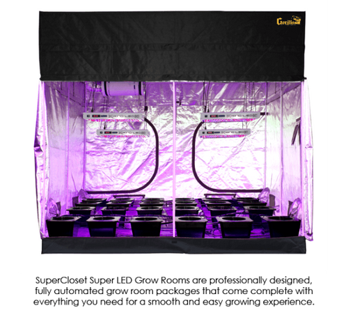 The Hydroponic Grow Tent Package 9x9 SuperCloset SuperRoom with a 9x9 Gorilla grow tent, four KIND LED K5-XL750 grow lights, and a complete hydroponic system from SuperPonics is a fully automated, turn-key complete indoor hydroponic grow system.
