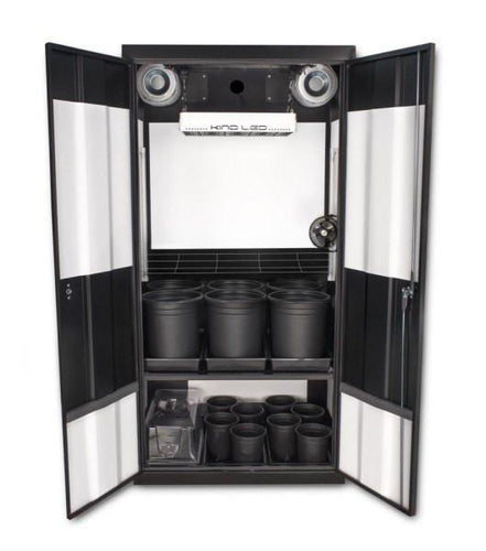 This dual-chamber LED Soil Grow Box Cabinet-The SuperCloset Deluxe 3.0 is the best indoor grow box for cloning and germinating in one chamber and vegetating and flowering in the second, making the most of your growing time.