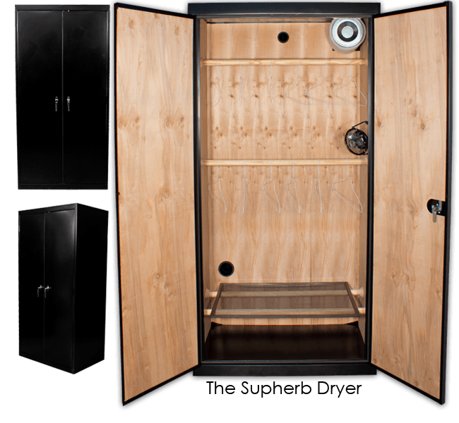 The SuperCloset SupHerb Drying Cabinet is a professional vertical herb and flower drying cabinet with a black metal exterior and pine and mahogany interior walls, making the drying process quick and simple.
