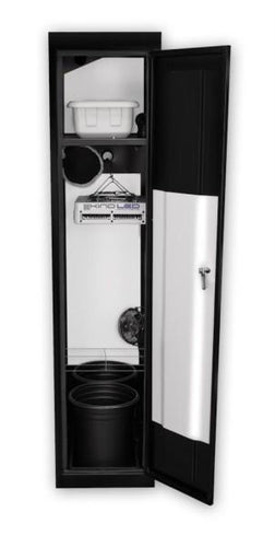 SuperCloset LED Soil Grow Box Cabinet-The SuperLocker 3.0 is the smallest of the dual chamber indoor grow cabinets and is perfect for indoor organic growing of a sustainable garden.