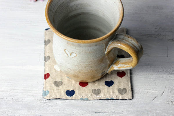 Set of 4 Handmade Heart Coasters