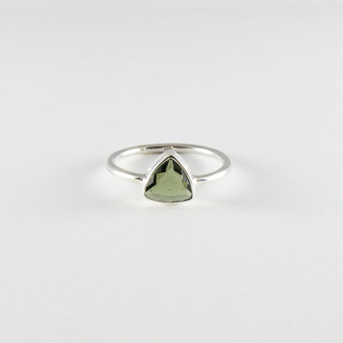 Moldavite Triangle Ring