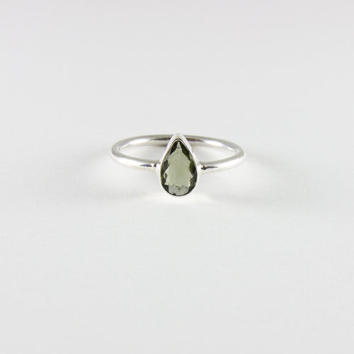Moldavite Tear Drop Ring