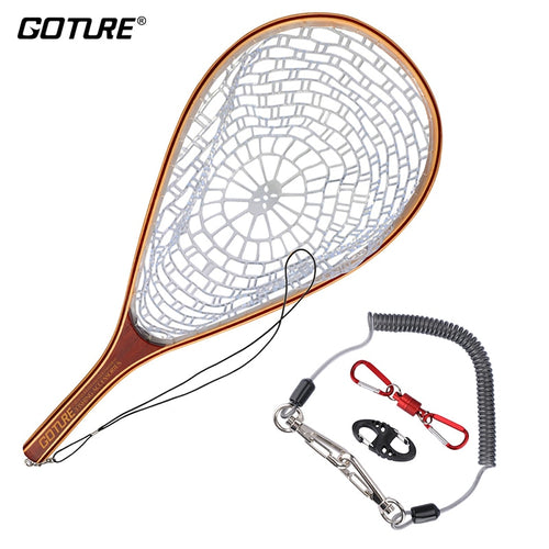 Goture Fly Fishing Trout Landing Net Set Monofilament Nylon Fishing Network with Lanyard Rope And Magnetic Buckle - Discount Fishing Tackle