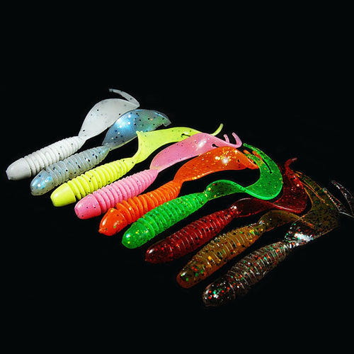 WALK FISH 10PCS/Lot Curly Tail Soft Lure 70mm 2.5g Forked Tail fishing bait grubs Plastic Maggot Fishing lure Jig Head Texas Rig - Discount Fishing Tackle