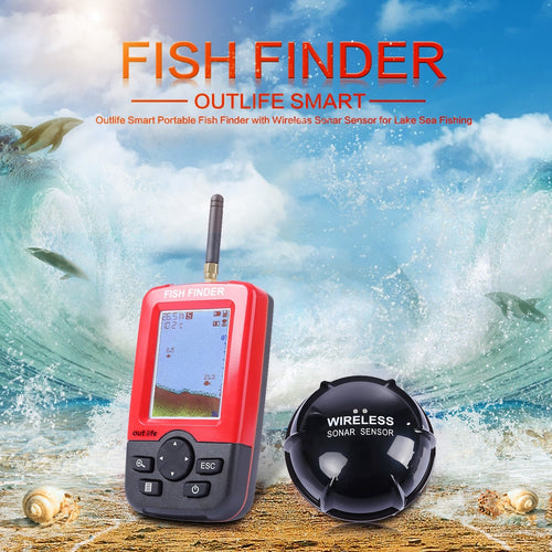 Outlife Smart Portable Fish Finder with Wireless Sonar Sensor Echo Sounder for Lake Sea Fishing Finders Wireless Fishing - Discount Fishing Tackle
