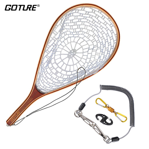 Goture Monofilament Nylon Fly Fishing Landing Net Set Trout Landing Network With Magnetic Buckle And Fishing Lanyard - Discount Fishing Tackle