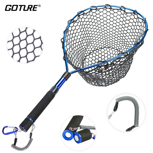Goture Fishing Landing Net with Magnetic Clip Lanyard Aluminum Alloy Frame Soft Rubber Mesh EVA Handle Blue/Red/Purple - Discount Fishing Tackle