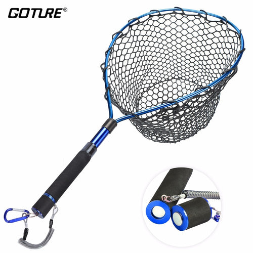 Goture Telescopic Fishing Net Landing Net Of Aluminum Alloy Frame Small Rubber Mesh Magnetic Clip Lanyard Fly Fishing - Discount Fishing Tackle