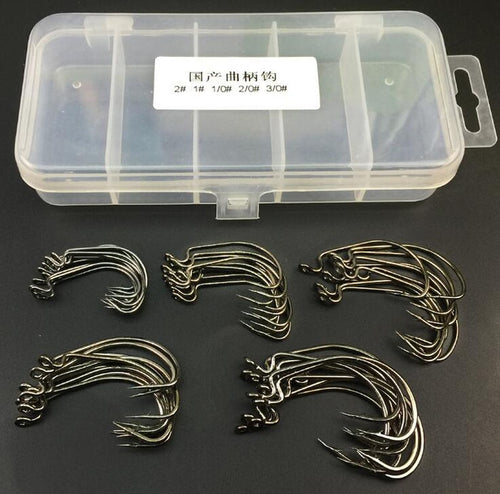 50pcs High Carbon Steel Crank Hooks Set 5 Size 1# 2# 1/0# 2/0# 3/0# Soft Bait Fish Hook Fishhook with Storage Box Fishing Tackle - Discount Fishing Tackle