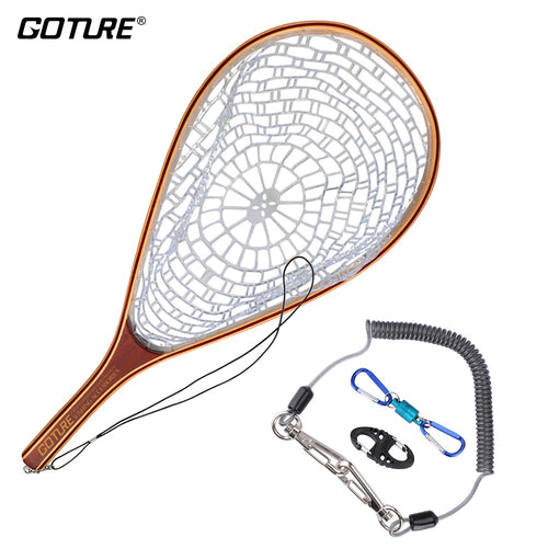 Goture Nylon Fly Fishing Net Landing Network Fish Trap With Fishing Lanyard Magnetic Buckle 8-Shape Fast Buckle - Discount Fishing Tackle