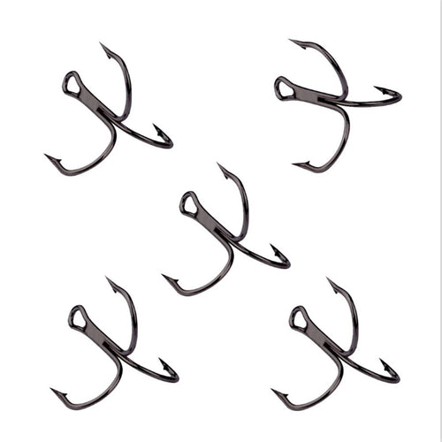 10Pcs/lot 2# 4# 6# 8# 10# Black Fishing Hook High Carbon Steel Treble Overturned Hooks Fishing Tackle Round Bend Treble For Bass - Discount Fishing Tackle