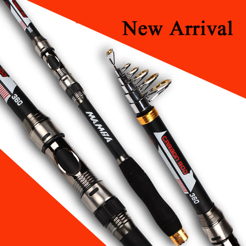 MANBA CARBON FIBER ROD Best Quality Telescopic spinning rods fishing Carbon Fiber fishing rod pole 2.1m / 2.4m / 2.7m/3.0m//3.6m - Discount Fishing Tackle