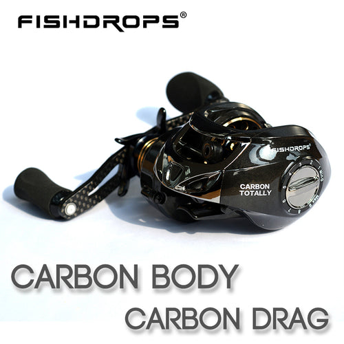 Fishdrops Baitcasting Reel Carbon Fiber baitcasting fishing reel 167g casting reel High Speed 7.2:1 Bass Fishing Reel casting - Discount Fishing Tackle