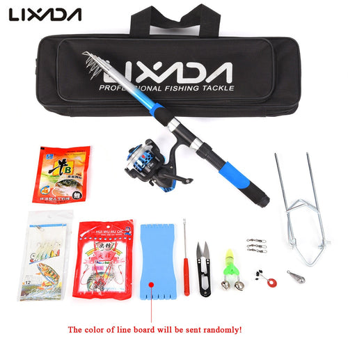 Lixada Fishing Rod Reel Set 2.1m Telescopic Fiberglass Rod Spinning Fishing Reel with Baits Hooks  Bag for Carp Travel Pesca - Discount Fishing Tackle