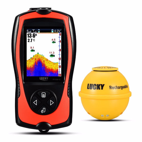 LUCKY FF1108-1CWLA Rechargeable Wireless Remote Sonar Sensor 45M water depth High Definition LCD fishing fish finder - Discount Fishing Tackle