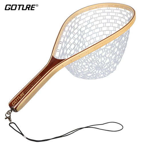 Goture Monofilament Rubber Fishing Net Landing Net  Bamboo and Wooden Frame Hand Net for Fly Fishing - Discount Fishing Tackle