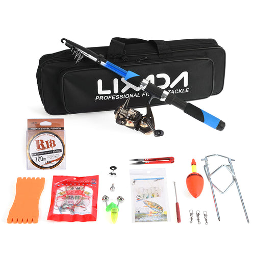 Lixada Fishing Tackle Set with 2.1m Telescopic Fiberglass Fishing Rod Spinning Reed Fishing Baits Hooks Fishing Tackle Set - Discount Fishing Tackle