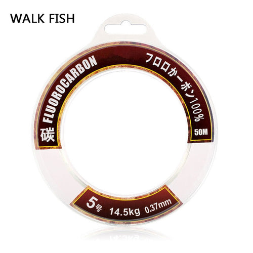 Walk Fish 50M 100M 100% True Fluorocarbon Fishing Line Carbon Monofilament Leader Carbon Fiber Fly Fishing Cord - Discount Fishing Tackle