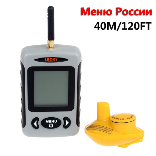 Russian Menu!!!Lucky FFW718 Wireless Portable Fish Finder 40M/120FT Sonar Depth Sounder Alarm Ocean River Lake - Discount Fishing Tackle