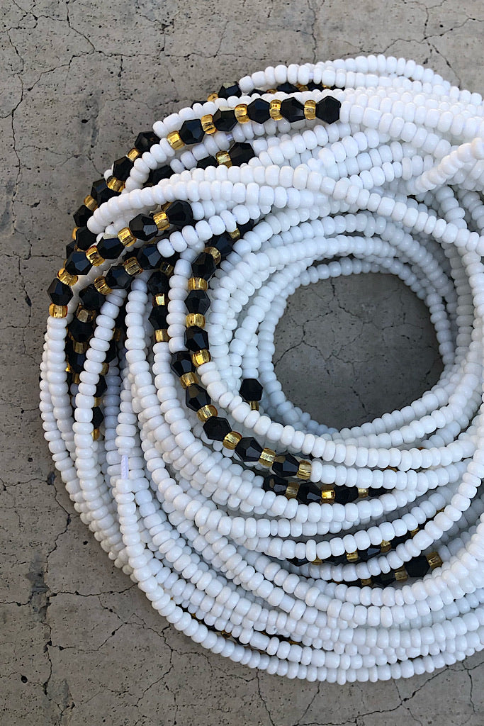Details about  /Gold and white tie-on waist beads