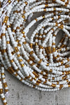 white and gold waist beads