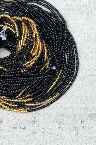 Infinity Black and Gold Waist Beads