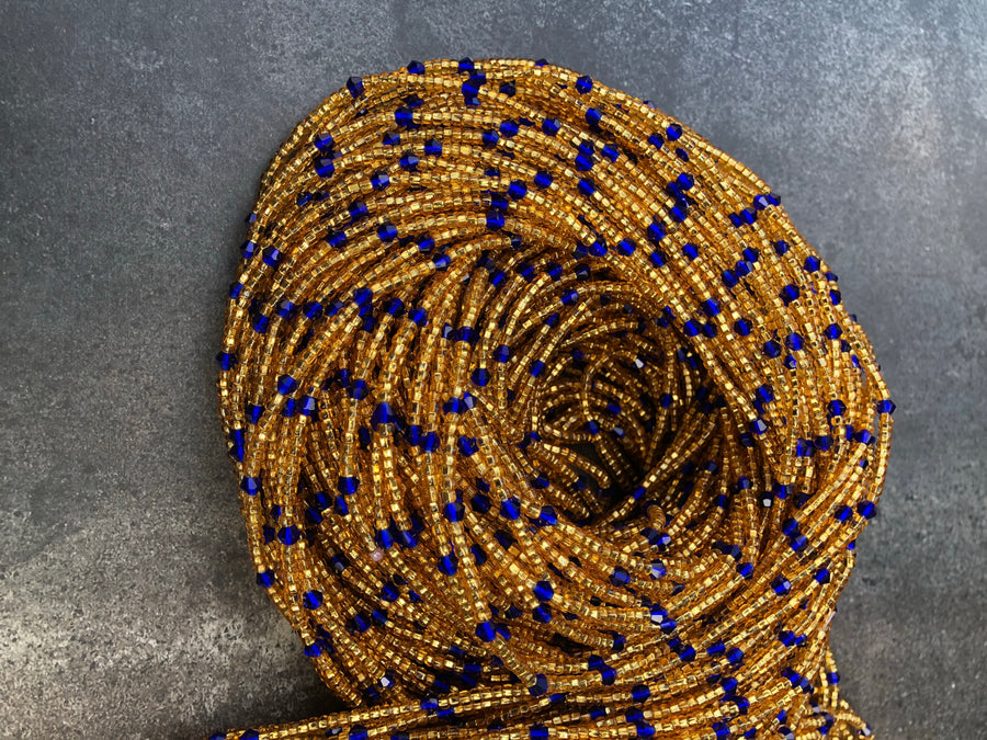 Gold and Blue Crystal Waist Beads