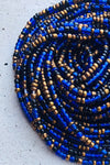 blue and bronze waist beads