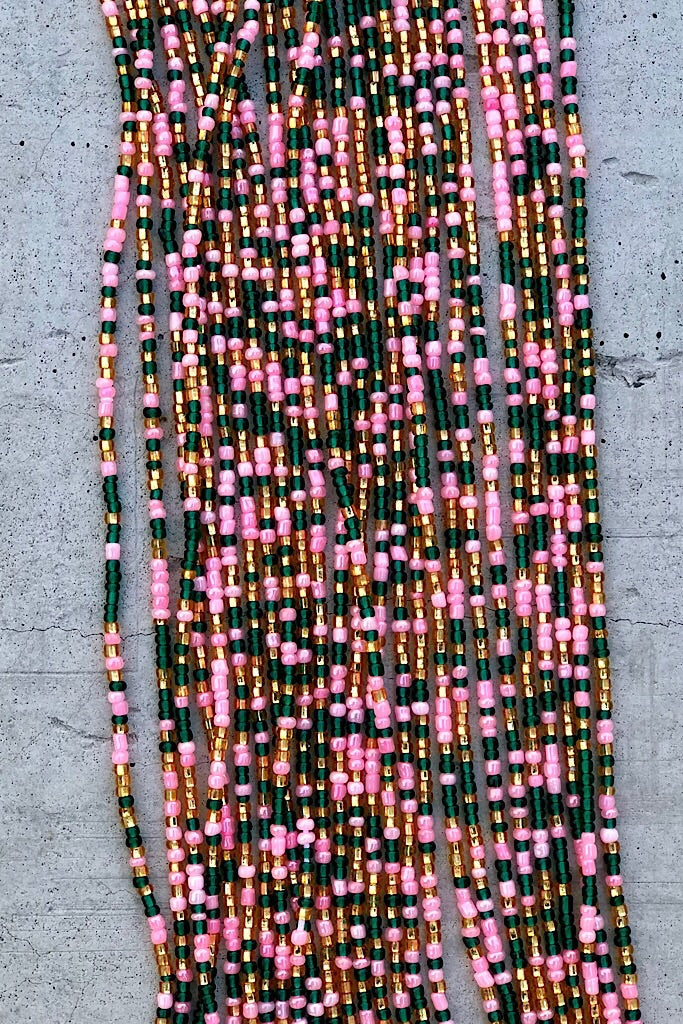 44 Inch Tie-On Solid Color African Waist Bead Strand Pink